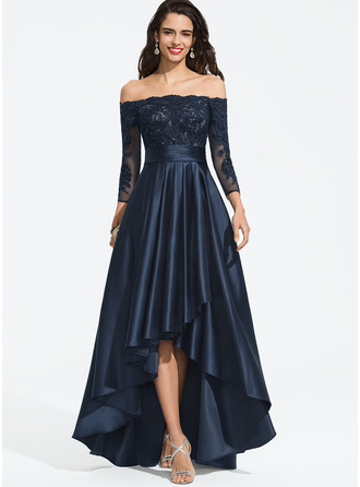 A-Linie Off-the-Schulter Asymmetrisch Satin Ballkleid