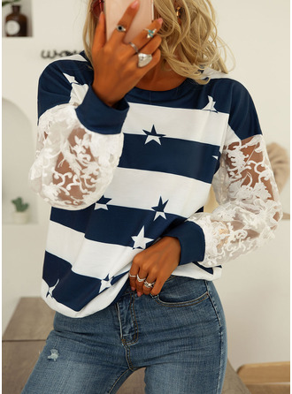 Lace Print Striped Round Neck Long Sleeves Sweatshirt