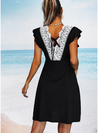 Solid Backless Sheath Cap Sleeve Mini Little Black Casual Vacation Dresses