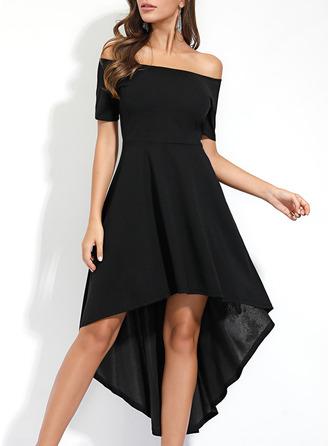 твердый A-линии С коротким рукавом асимметричный Маленький черный партия элегантный Конькобежец Модные платья