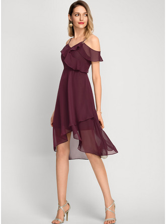 A-Linje Off-shoulder Asymmetrisk Chiffon Cocktailkjole