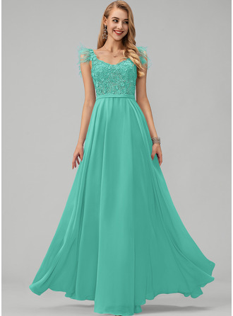 A-Line V-neck Floor-Length Chiffon Prom Dresses With Lace Beading Feather Flower(s)