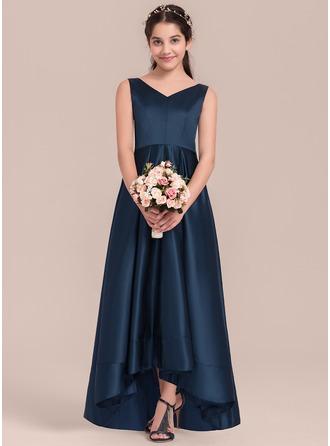 A-Linie/Princess-Linie V-Ausschnitt Asymmetrisch Satin Kleid für junge Brautjungfern