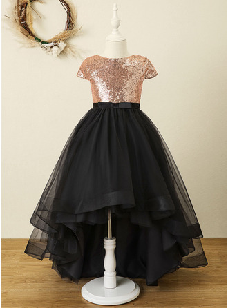 A-Line Asymmetrical Flower Girl Dress - Tulle/Sequined Sleeveless Scoop Neck With Bow(s) (Undetachable sash)