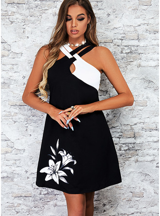 Color Block Floral Print Shift Sleeveless Mini Casual Vacation Dresses