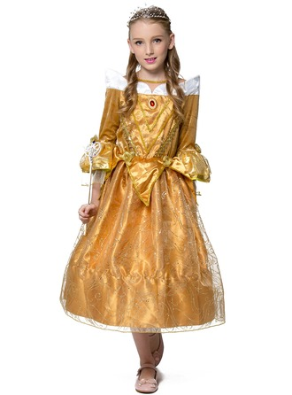 A-Line/Princess Tea-length Flower Girl Dress - Polyester Long Sleeves Bateau With Bow(s)
