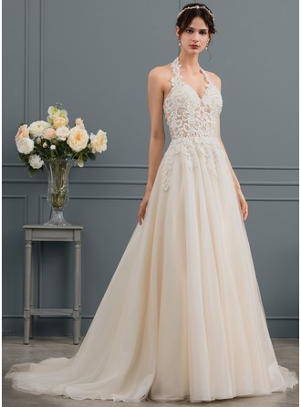 Ball-Gown Halter Sweep Train Tulle Wedding Dress With Beading Sequins