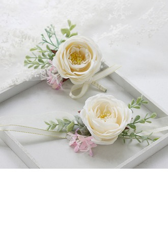 Tyylikäs Pyöreä Satiini Ranne kukkakimppu/Boutonniere (sarja 2) - Ranne kukkakimppu/Boutonniere