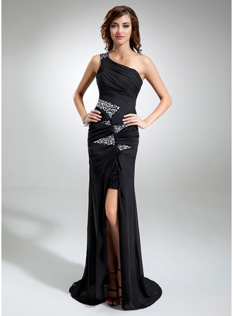 Sheath/Column One-Shoulder Sweep Train Chiffon Sequined Prom Dress With Ruffle Beading Split Front