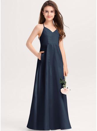 Aライン Vネック マキシレングス サテン ジュニアブライドメイドドレス とともに ポケット