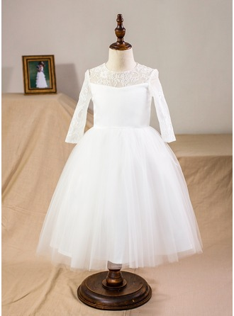 Plesové Tříčtvrteční délka Flower Girl Dress - Satén/Tyl/Krajka Dlouhé rukávy Scoop Neck