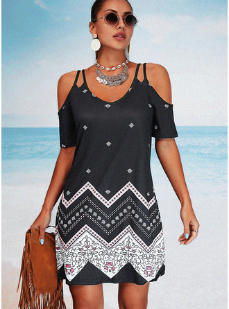 Print Sheath Short Sleeves Mini Casual Vacation Dresses