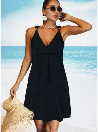 Solid Shift Sleeveless Midi Little Black Casual Vacation Dresses