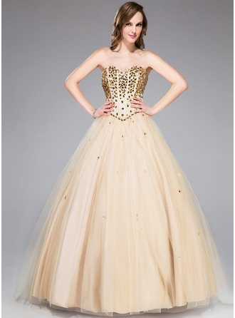 Платье для Балла В виде сердца Длина до пола Тюль Платье Для Выпускного Вечера с Бисер