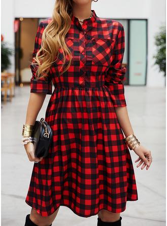 Pläd A-linjeklänning Långa ärmar Midi Fritids skater Modeklänningar
