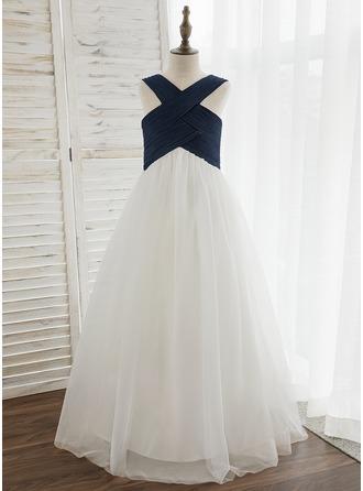 De Baile/Princesa Longos Vestidos de Menina das Flores - Tecido de seda/Tule Sem magas Decote V com Plissada