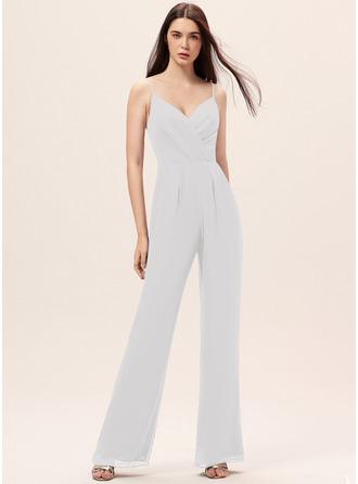 Jumpsuit/Pantsuit V-neck Floor-Length Chiffon Bridesmaid Dress With Ruffle