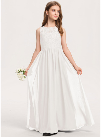 A-Line Scoop Neck Floor-Length Chiffon Lace Junior Bridesmaid Dress