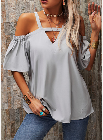 Solid Cold Shoulder 1/2 Sleeves Casual