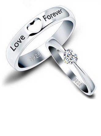 Som gümüş Kübik zirkon kalp Yuvarlak Kesim Çiftin Yüzükleri - Sevgililer Hediyeler
