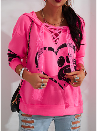 Animal Print Lace Figure Heart Long Sleeves Hoodie