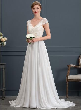 A-Line/Princess V-neck Sweep Train Chiffon Wedding Dress With Beading