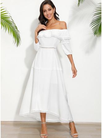 Solid A-linjeklänning 1/2 ärmar Midi Fritids Semester Modeklänningar