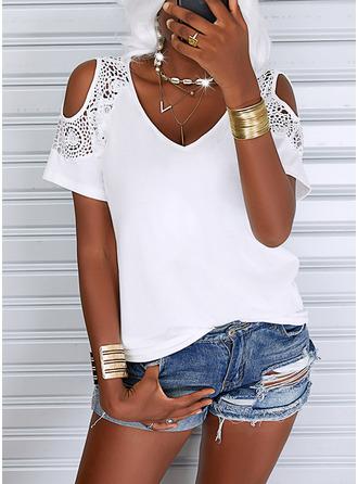 Solid Cold Shoulder Short Sleeves Elegant Blouses