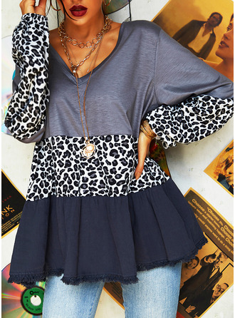 Leopardo Trozos de color Cuello en V Manga Larga Casual Blusas