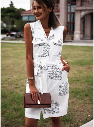 Print Sheath Sleeveless Mini Casual Shirt Dresses