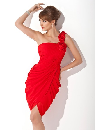Sheath/Column One-Shoulder Knee-Length Chiffon Cocktail Dress With Ruffle Flower(s)