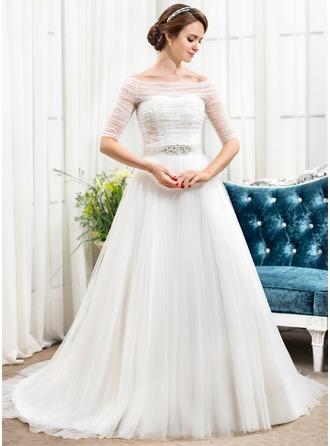 Forme Princesse Hors-la-épaule Traîne mi-longue Tulle Robe de mariée avec Plissé Brodé Paillettes