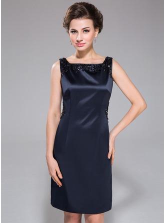 Sheath/Column Square Neckline Knee-Length Satin Cocktail Dress With Beading