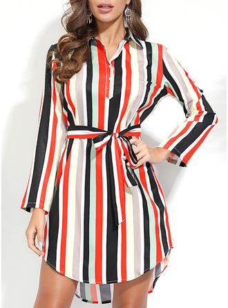 Rand A-linjeklänning 3/4 ärmar Midi Fritids Skjortklänningar Modeklänningar