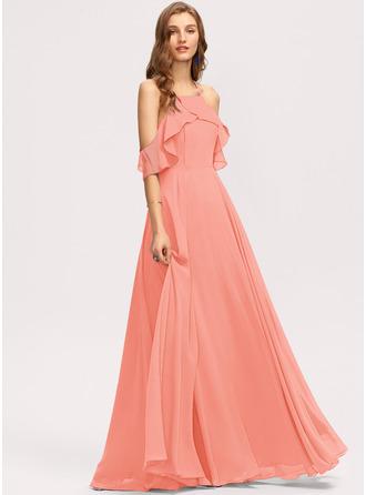 A-Line Square Neckline Floor-Length Chiffon Evening Dress