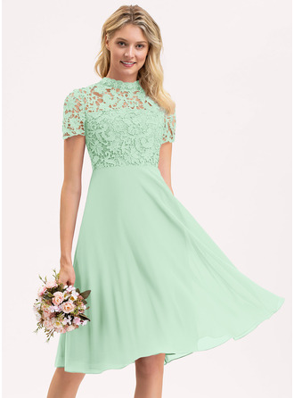 A-Line Scoop Neck Knee-Length Chiffon Lace Bridesmaid Dress