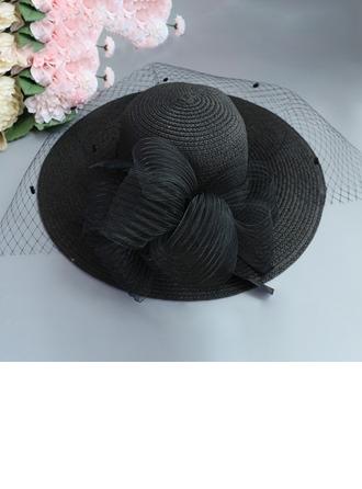 Ladies' Special/Elegant/Eye-catching Raffia Straw With Tulle Straw Hat