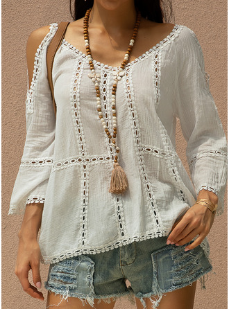 Solid 3/4 Sleeves Polyester Cold Shoulder Blouses