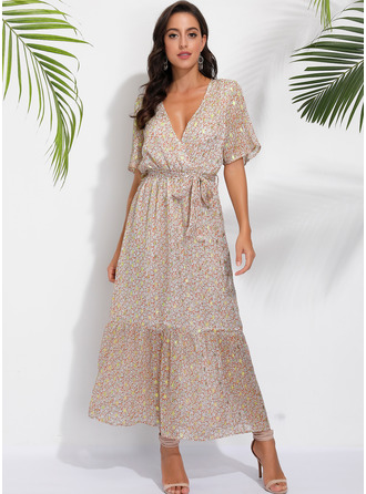 Print A-line Short Sleeves Maxi Boho Casual Vacation Skater Wrap Dresses