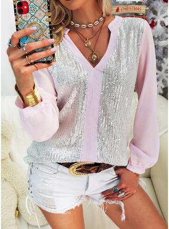 Pailletten V-Ausschnitt Lange Ärmel Lässige Kleidung Blusen