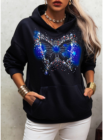 Animal Print Sequins Long Sleeves Hoodie
