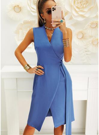 Solid Sheath Sleeveless Midi Casual Wrap Dresses