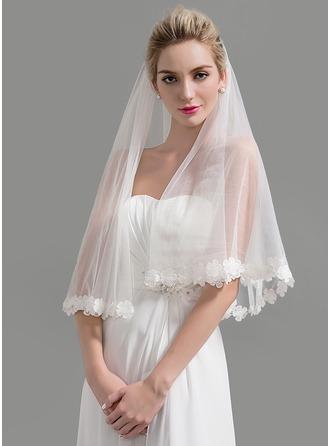 Uno capa Con Aplicación de encaje Velos de novia vals con Apliques