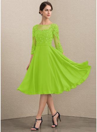 A-Linie U-Ausschnitt Knielang Chiffon Spitze Kleid für die Brautmutter mit Perlstickerei Pailletten