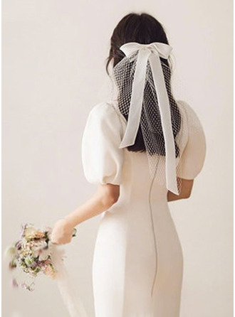 Two-tier Cut Edge Shoulder Veils With Satin Bow