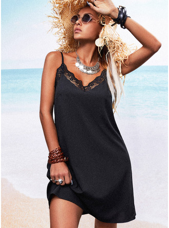 Lace Solid Backless Shift Sleeveless Mini Little Black Casual Type Dresses