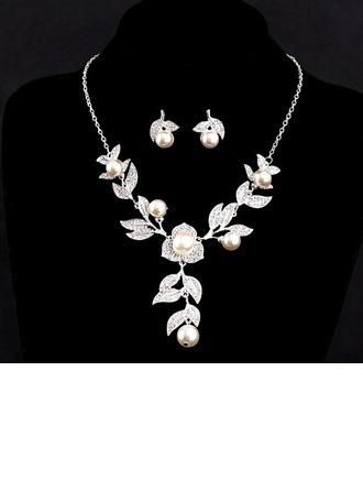 Bonito Liga/Falso pérola com Cristal austríaco Conjuntos de jóias
