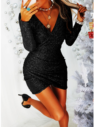 Sequins Bodycon Long Sleeves Mini Little Black Party Dresses