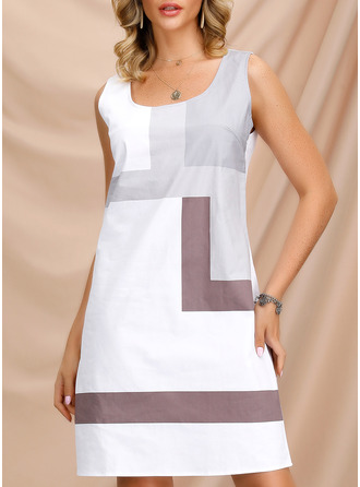 Color Block Shift Sleeveless Mini Casual Tank Dresses