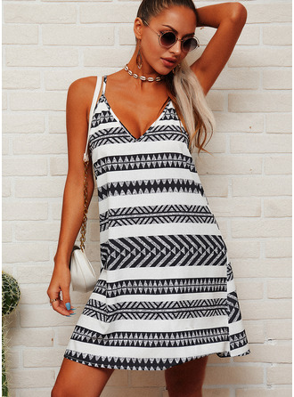 Striped Shift Sleeveless Mini Casual Type Dresses